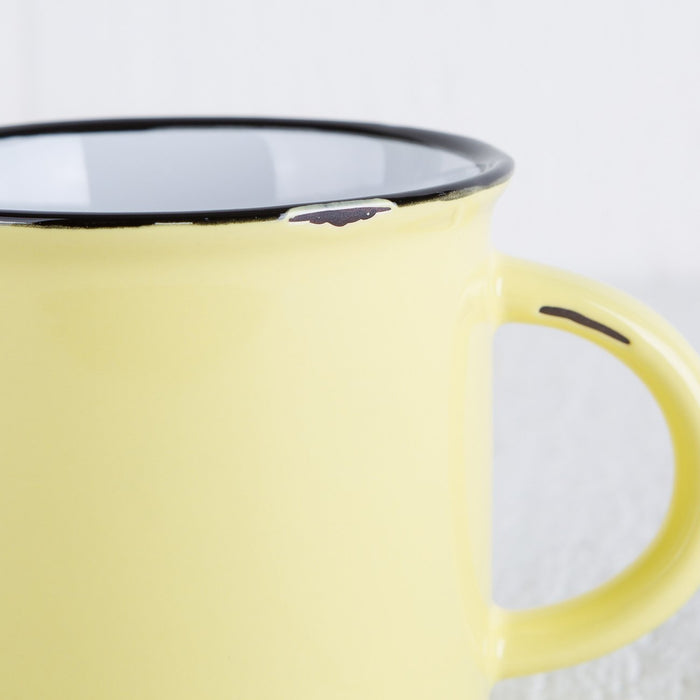 "Yellow Ceramic ""Tinware"" Mug"