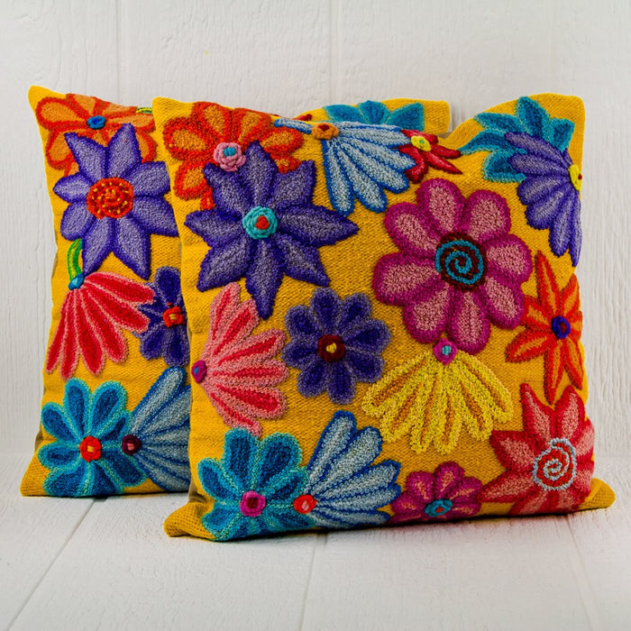 "Yellow Floral Amarello Artisan Pillow (16"" x 16"")"
