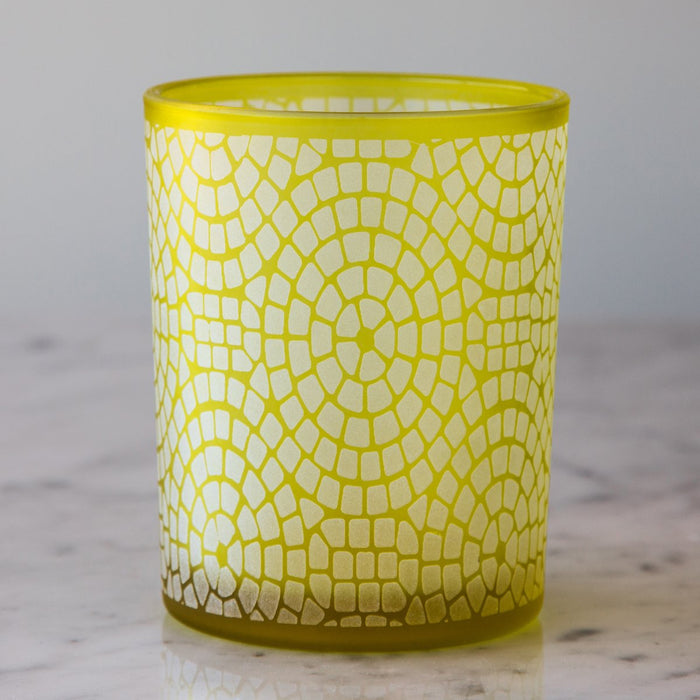 "Yellow Frosted Glass Geometric Hurricane (5"" h)"