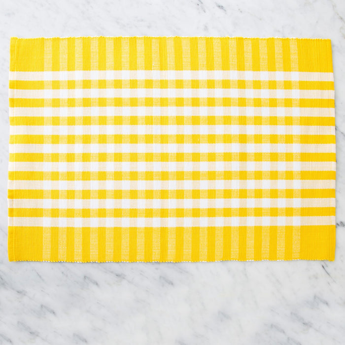 "Yellow Italian Checkered 100% Cotton Placemat (19"" x 13"")"