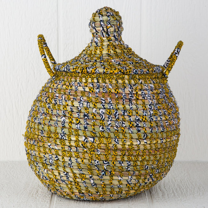 "Yellow Linen African Basket Bell Jar With Lid (16""h)"
