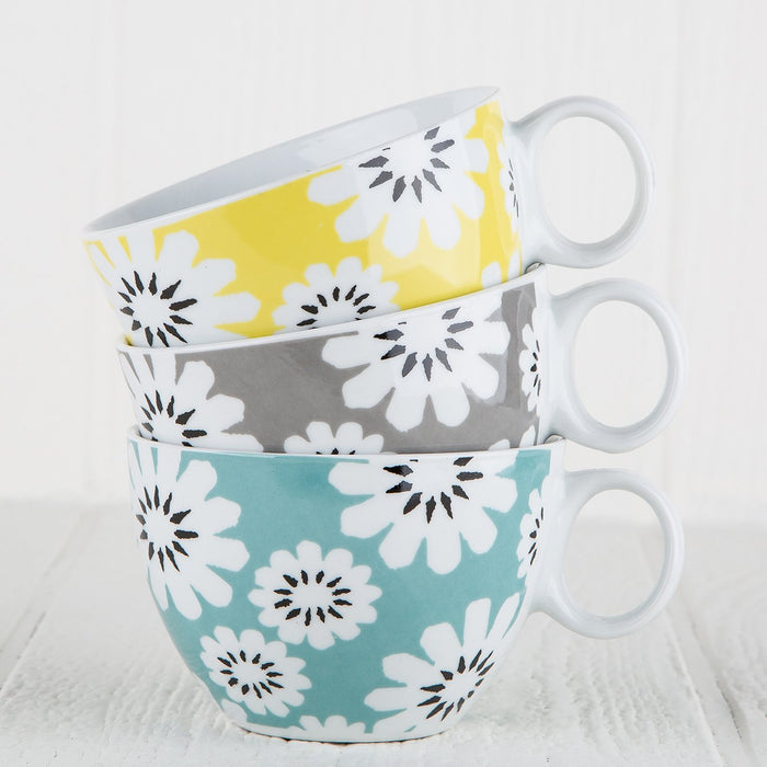 Yellow Porcelain Flower Mug and Pattern Saucer