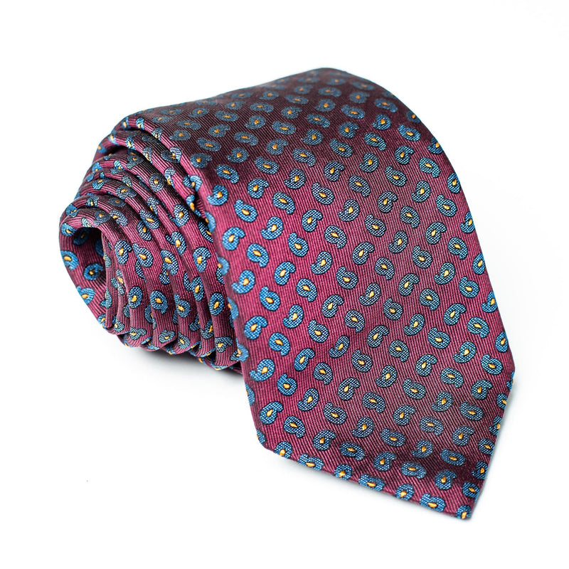 Red Pattern Tie - Blue/Yellow Paisley