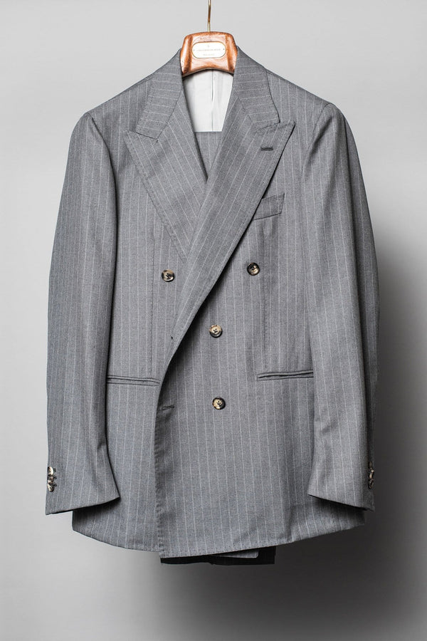 Mid Grey Pinstripe 'Charles' Double Breasted Suit