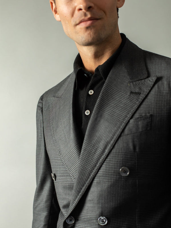 Charcoal Check Wool & Silk DB Suit - Custom Made