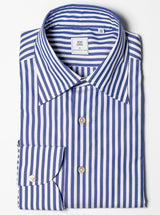 Spread Collar Butcher Stripe Shirt - Blue