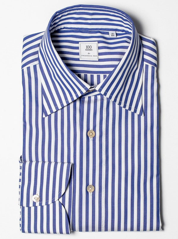 Cotton Poplin Butcher Stripe - Blue/White