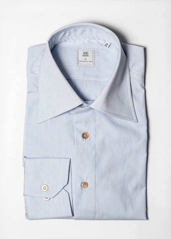 Spread Collar Pencil Stripe Shirt - Blue