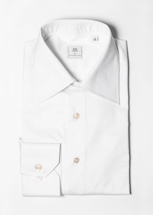 Spread Collar Cotton Twill Shirt - White