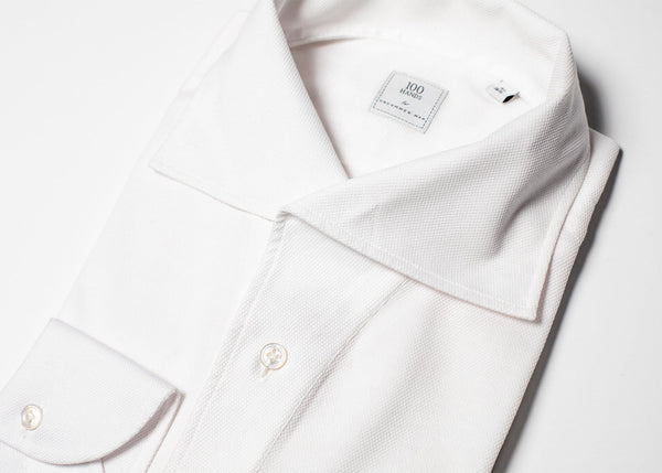 One Piece Collar Pique Shirt - White