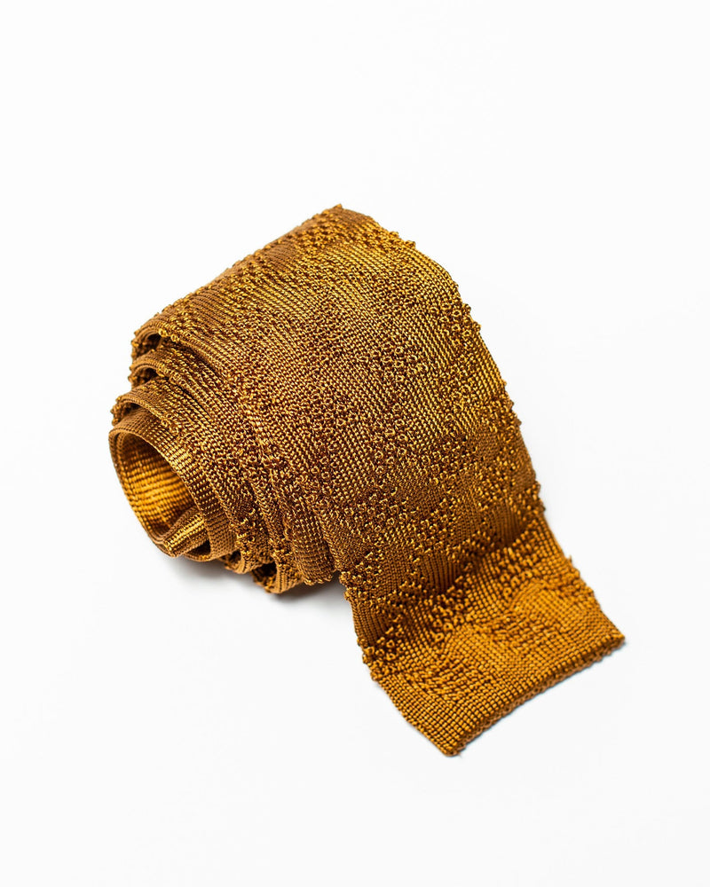 Pattern Knit Tie - Gold