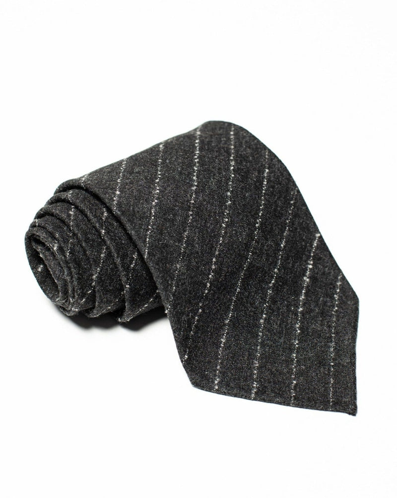 Charcoal Flannel Tie - Bouclé Stripe