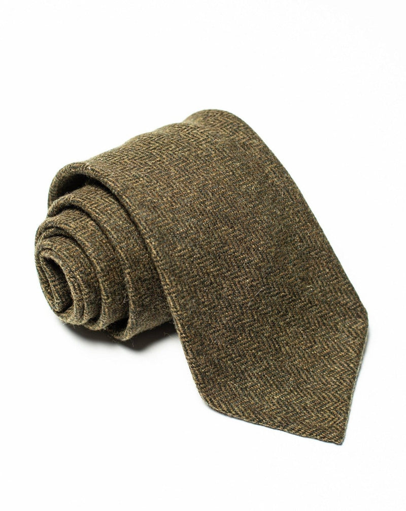 Green Tweed Tie - Herringbone