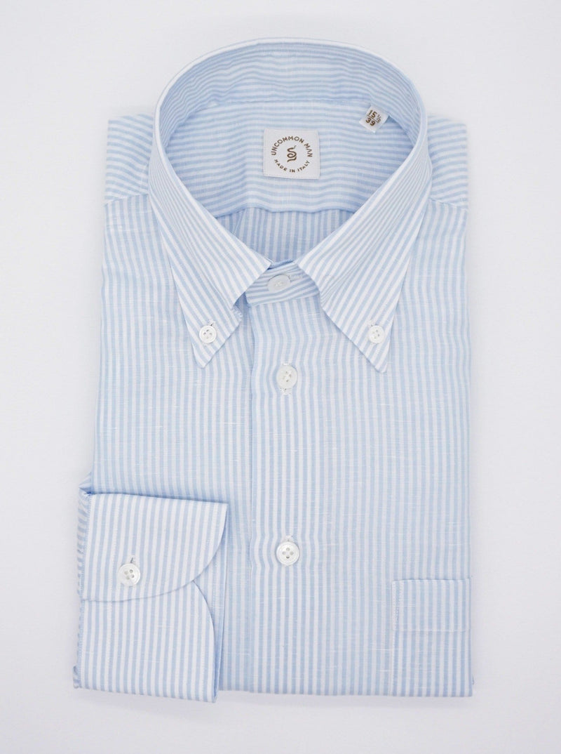 Cotton/Linen Stripe Button Down Collar Shirt - Blue