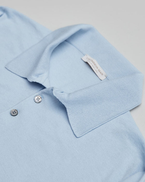 Sky Blue Pure Cotton Long Sleeve Polo