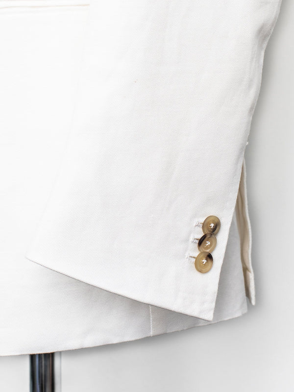 Charles DB Jacket - White Cotton & Linen