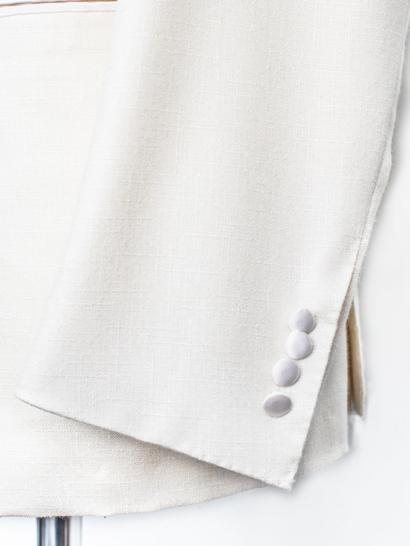 Shawl Dinner Jacket - Cream Wool/Silk - 50