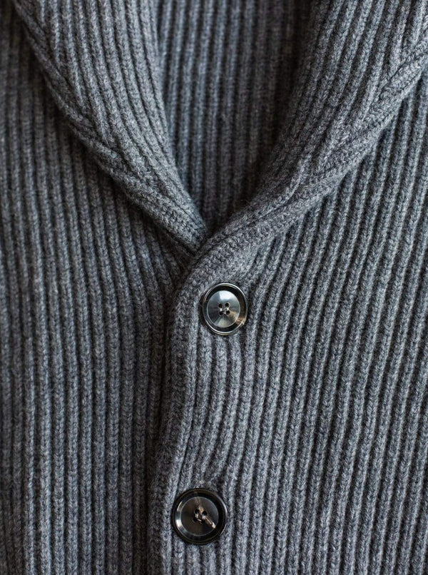Wool and Cashmere-Blend Shawl Cardigan - Grey