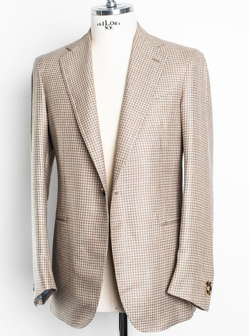 Henry 1 Button Jacket - Biege Houndstooth