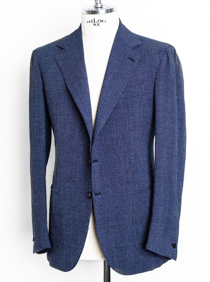 Unlined Blue Wool Seersucker Jacket