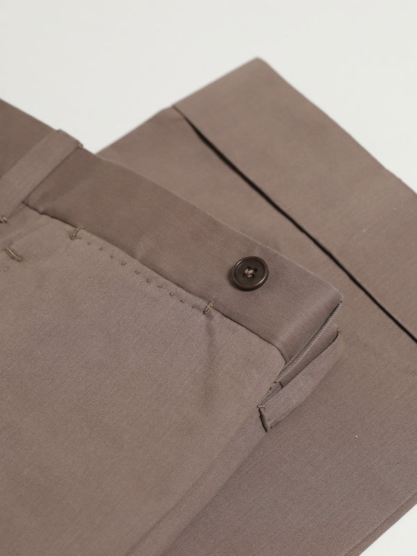 Bark Brown Cotton & Cashmere-blend Flat Front 'Eames' Chinos