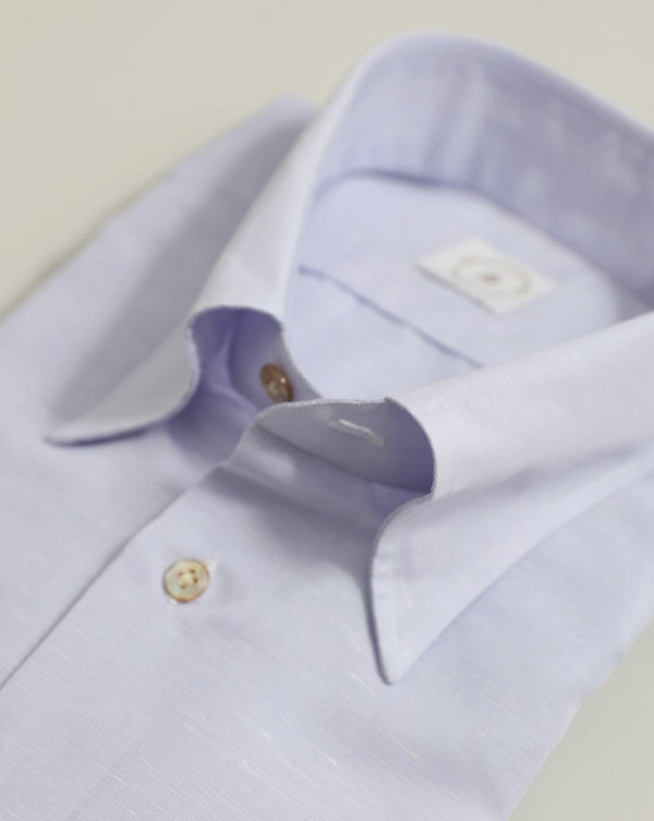 Lilac Cotton & Linen-Blend Shirt