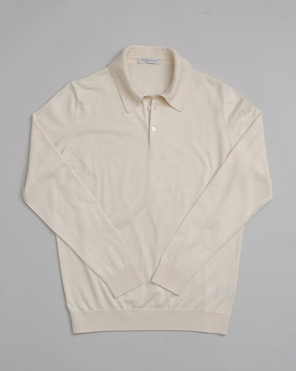 Cotton-Cashmere blend Long Sleeve Polo - Ecru