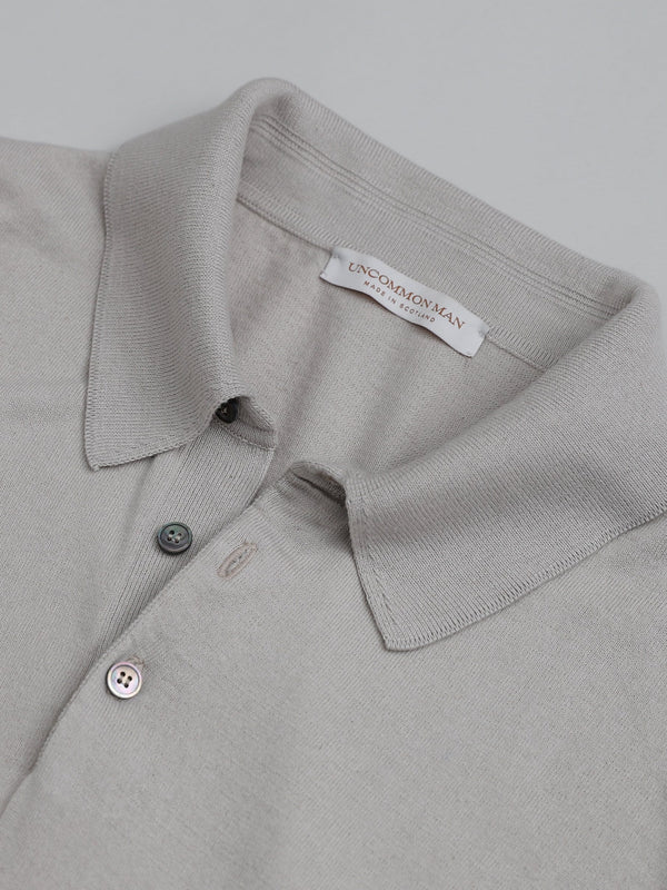 Cotton-Cashmere blend Long Sleeve Polo - Silverbelly