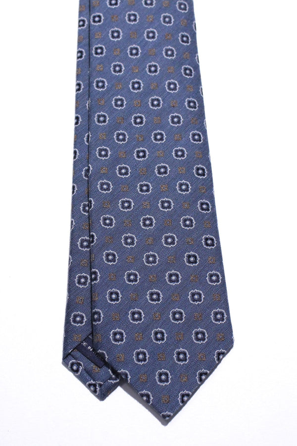 light blue silk cotton with tan navy pattern