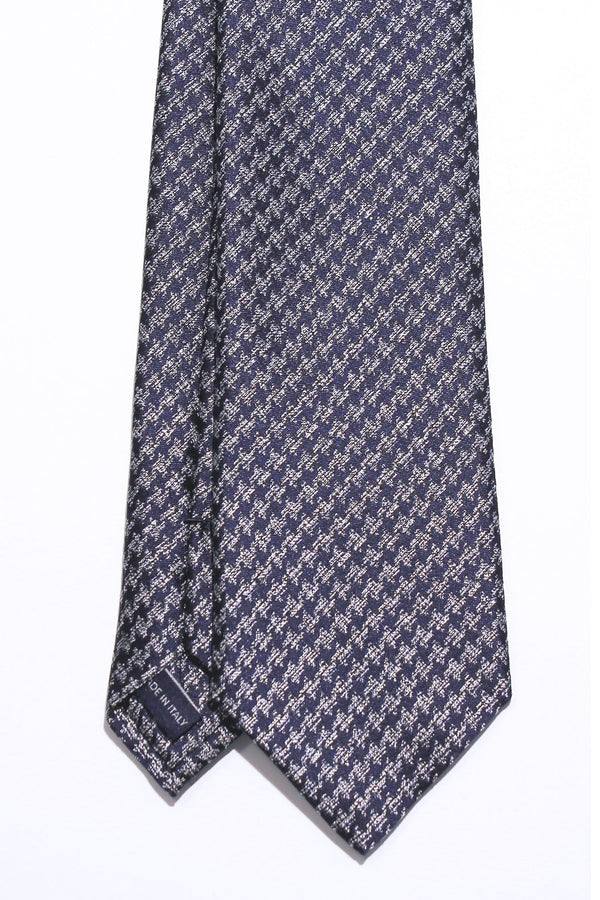 Blue Houndstooth Silk Tie
