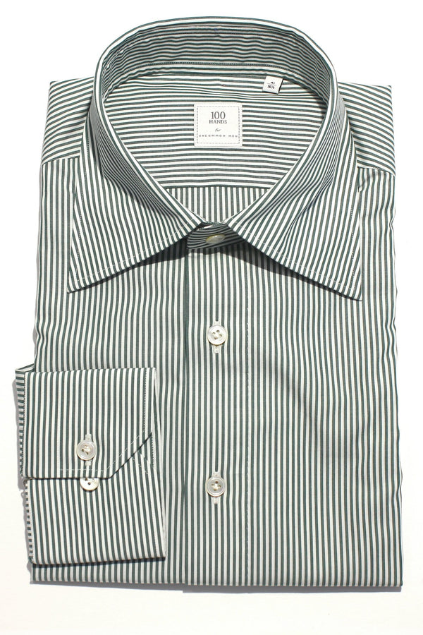 Spread Collar Bengal Stripe Shirt - Green