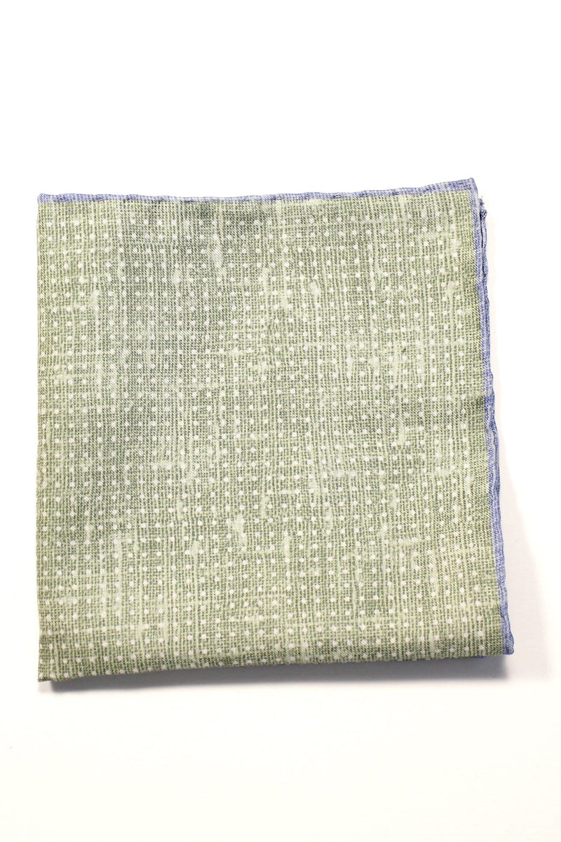 Double Faced Pocket Square - Green and Grey