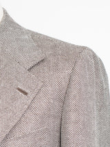 Brown Wool/Linen Herringbone Jacket