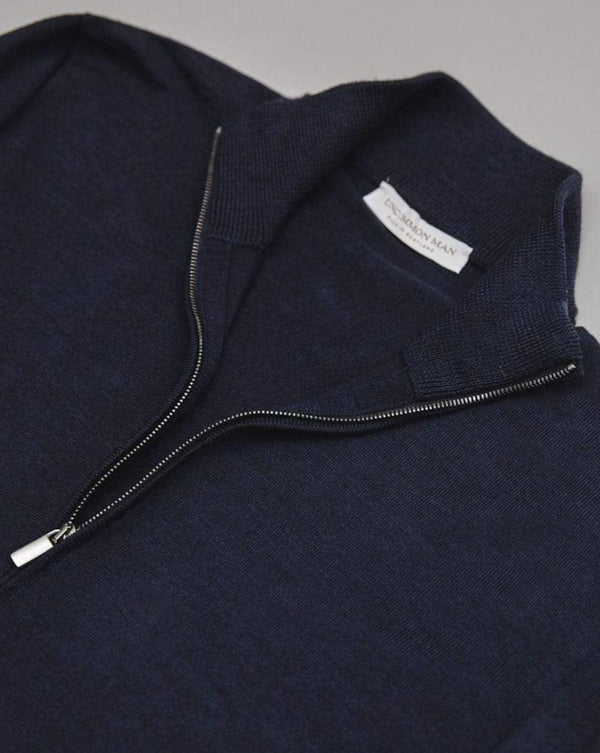 Navy Geelong Wool Zip Through