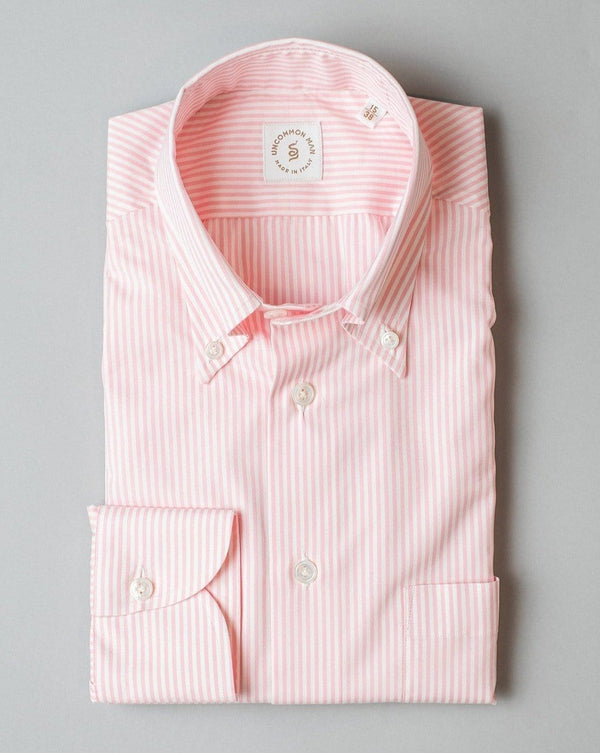 Cotton Stripe Shirt Button Down Collar - Pink