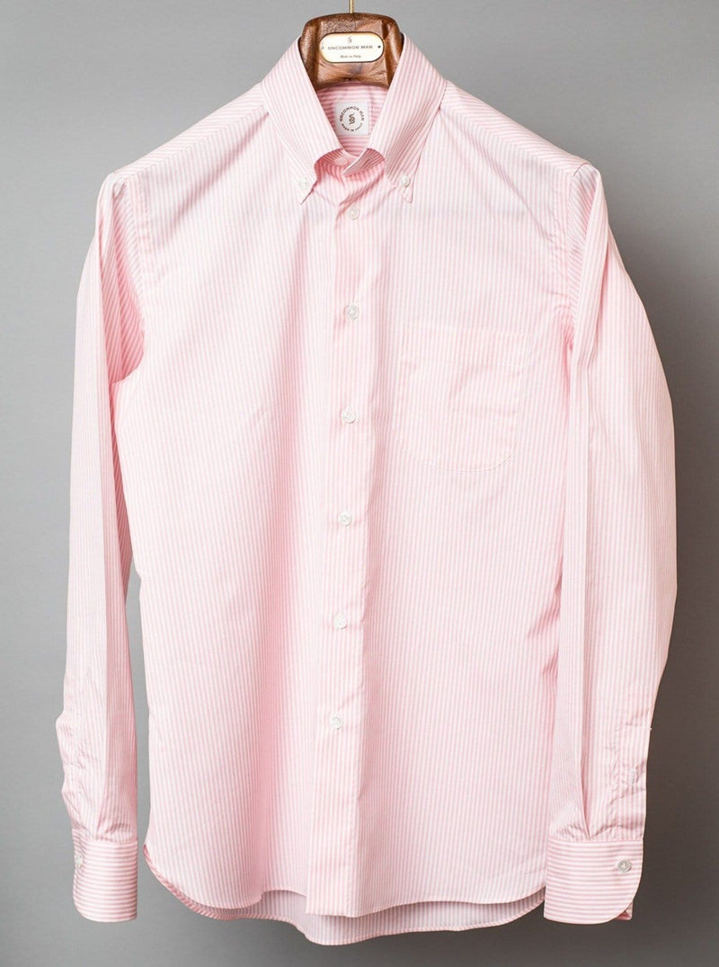 Pink Stripe Button Down Collar Shirt
