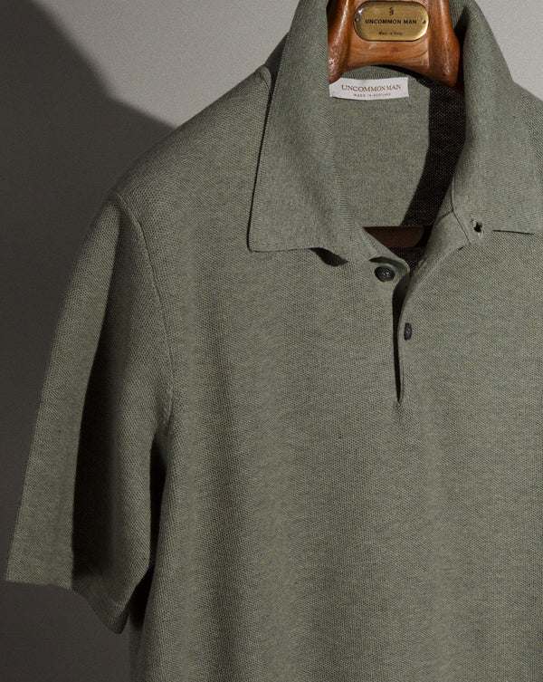 S/S Cotton Pique Polo - Sage