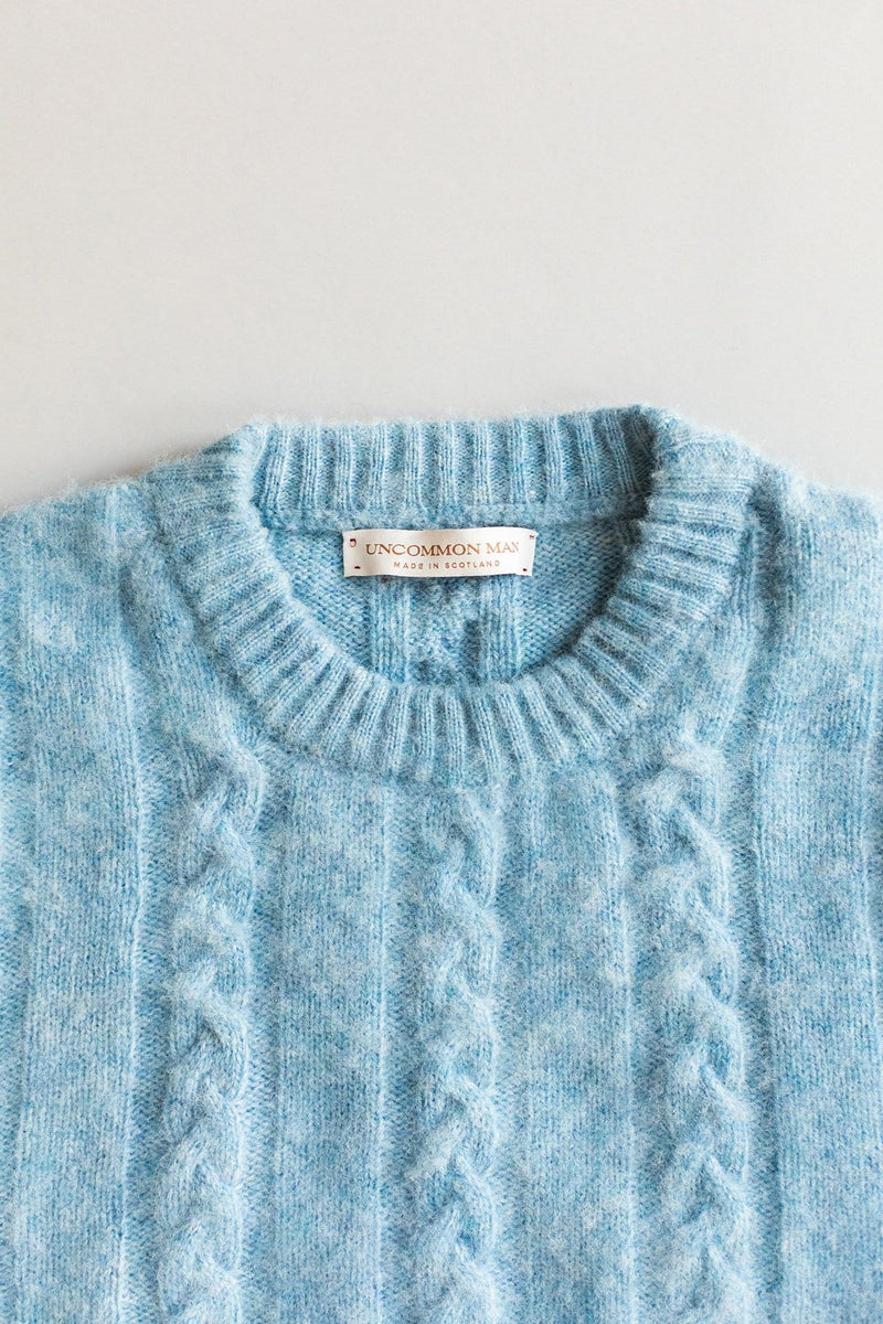 Shetland Cable Sweater - Blue Bonnet