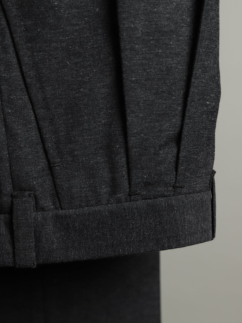 Charcoal Wool & Cotton-blend Double Pleat 'Shelby' Trousers