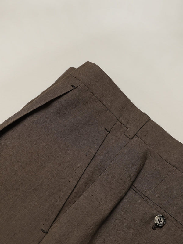Bark Brown Linen Single Pleat 'David' Trousers