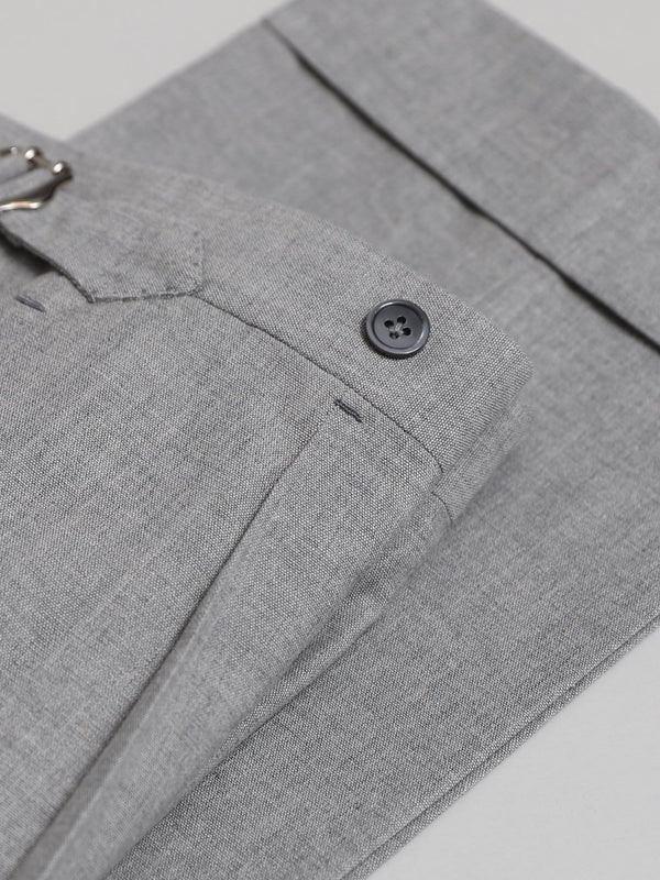 Light Grey Wool & Cotton-blend Single Pleat 'David' Trousers