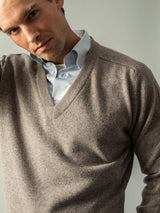 V-neck Lambswool Pullover - Ash Brown