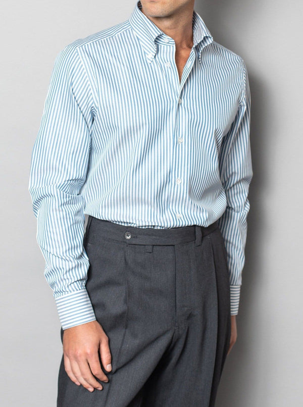 Bright Blue Banker Stripe Shirt