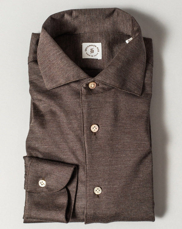 Bark Brown Cashmere One-piece Collar Shirt