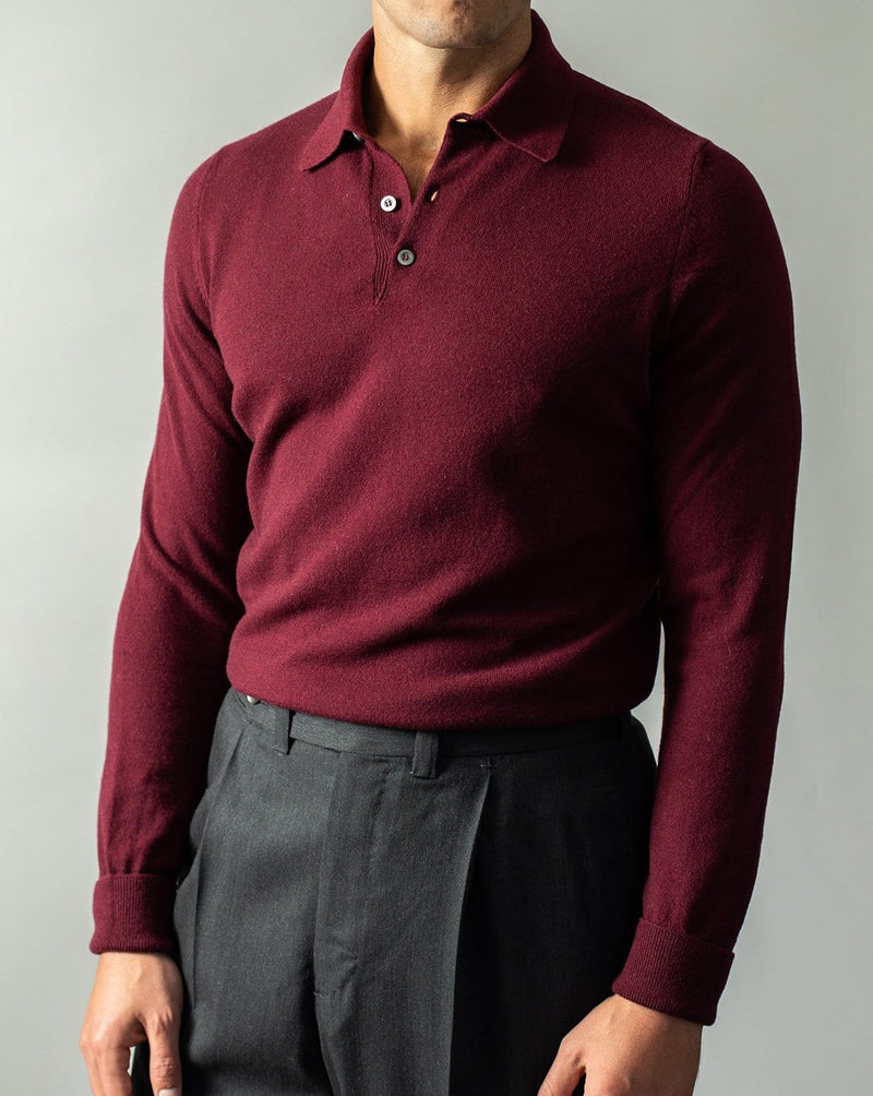 Wool and Cashmere-Blend Polo - Bordeaux
