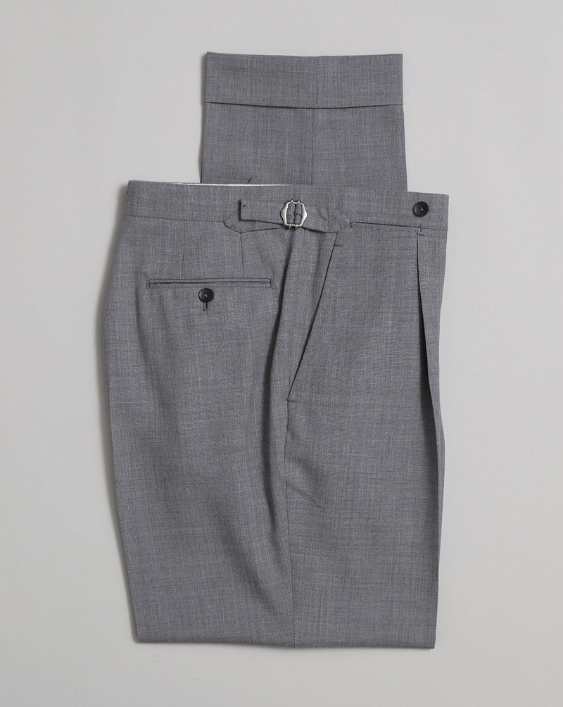 David Single Pleat Trouser - Light Grey Fresco