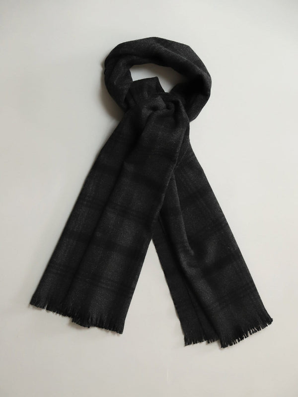 Charcoal Check Scarf - Escorial Wool