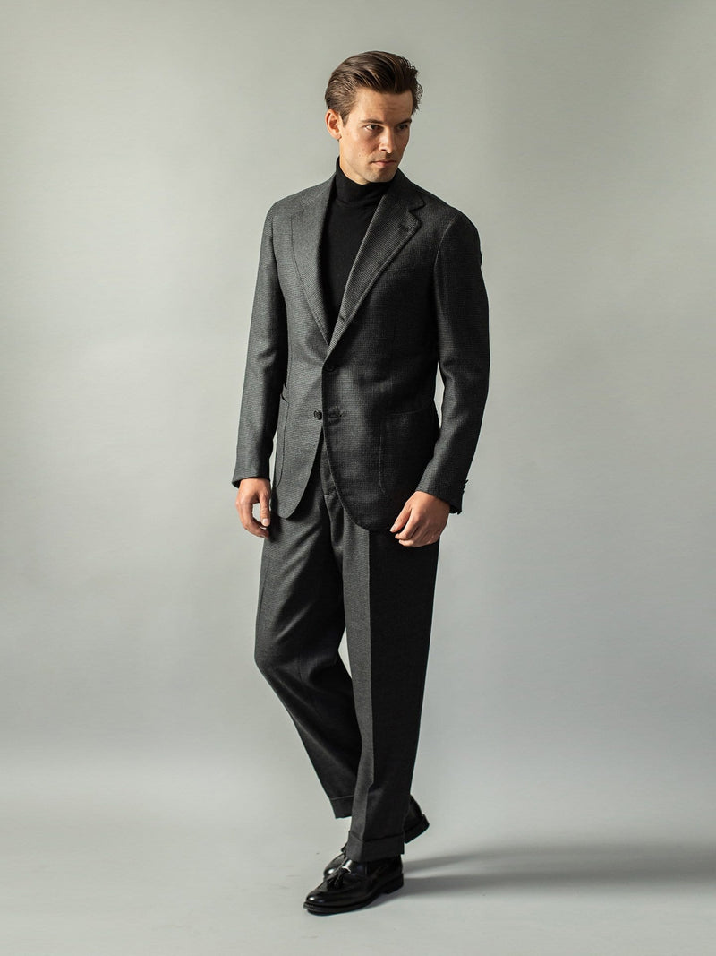 Charcoal Cashmere Houndstooth  'Henry' Suit