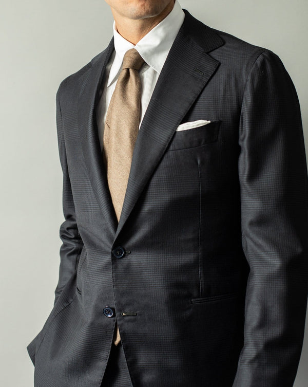 Navy Check Wool & Silk Suit  - Custom Made