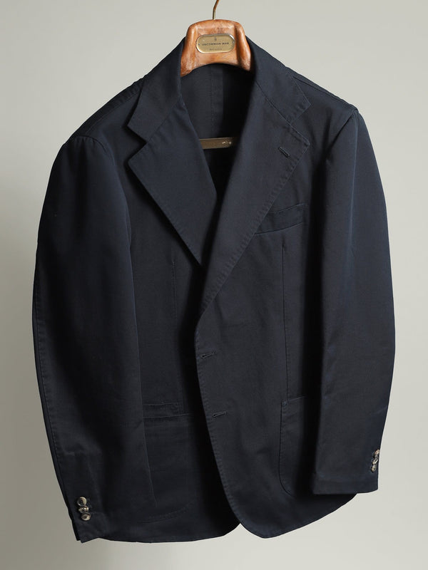 Navy Unconstructed Cotton Twill 'Henry' Jacket